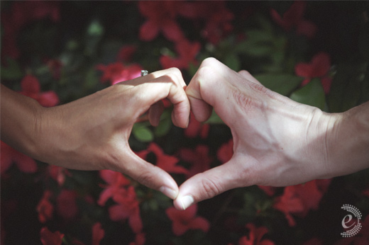heart shaped hands engagement