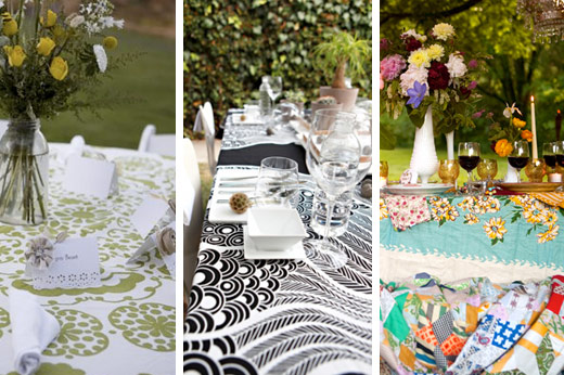 real wedding graphic table linens