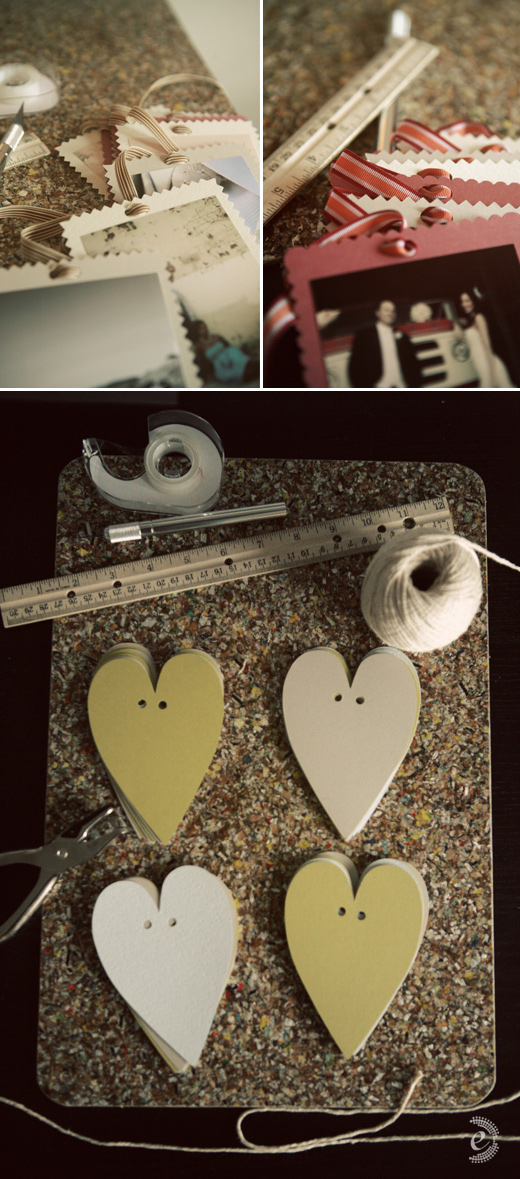 diy paper photo garland vintage ribbon hearts