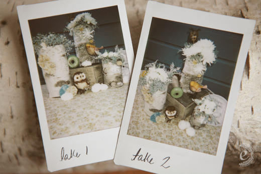 polaroids fuji instax rustic table centerpiece