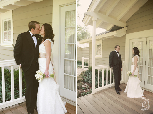 real wedding vineyard wine country porch lace dress