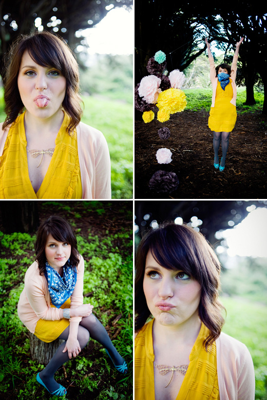 bio marketing photography pom-poms yellow pink brown outdoor