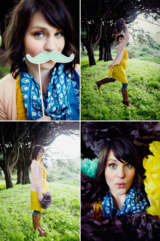 bio marketing photography pom-poms yellow pink brown mustache prop