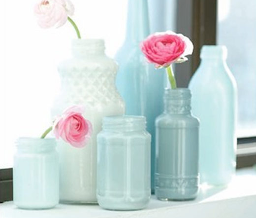 painted glass bottles jars diy