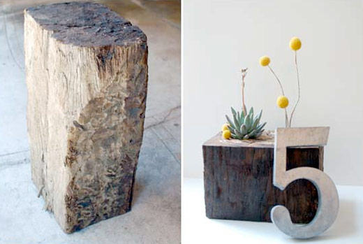 railroad tie diy upcycled centerpiece Photos courtesy of Yes Please Design