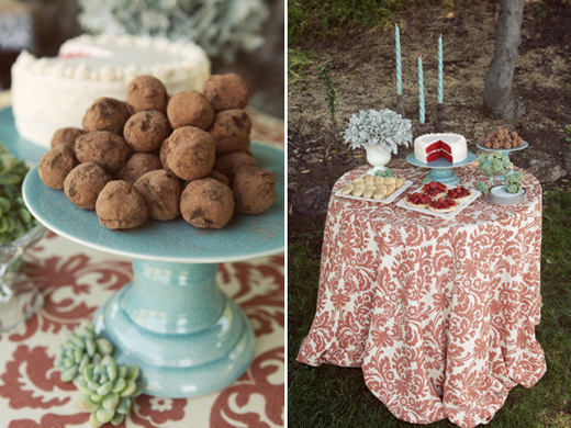 san francisco outdoor vintage glam wedding dessert table chocolate truffles