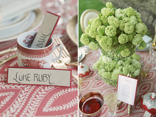 san francisco outdoor wedding reception green centerpiece espresso favors