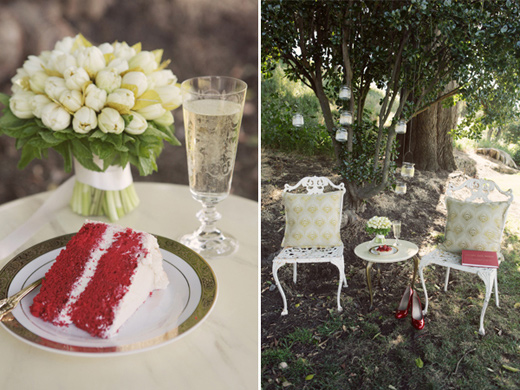san francisco outdoor wedding reception red velvet cake white tulip mint bouquet lounge seating