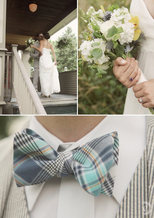 classic backyard wedding seersucker plaid bowtie