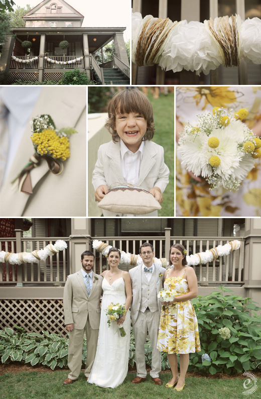 classic backyard wedding seersucker diy garland yellow