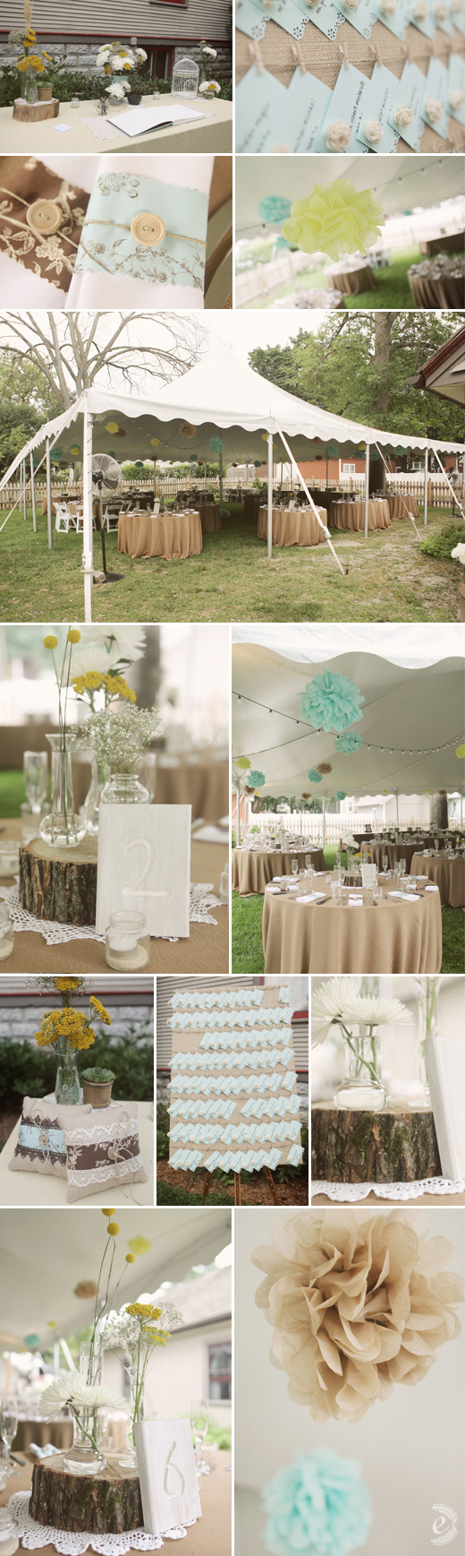 backyard wedding reception robin's egg blue yellow burlap pom-poms