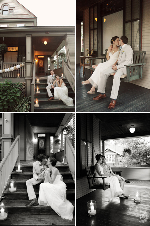 bride groom house porch swing portraits