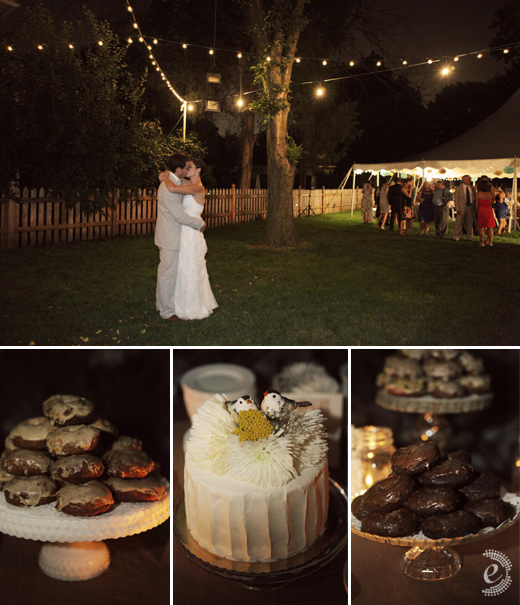 backyard wedding tent night doughnuts