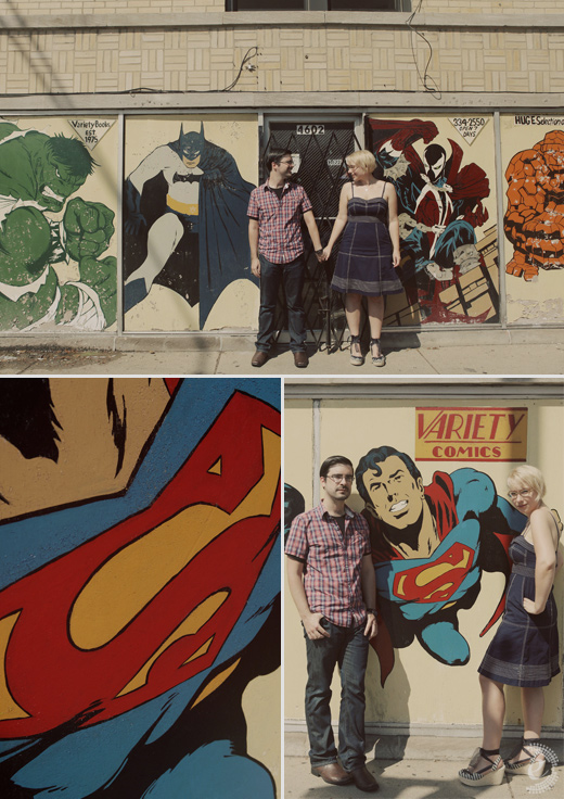 engagement session comic book murals