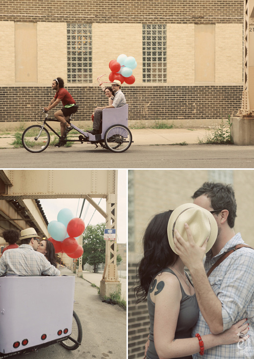 urban balloon bike rickshaw engagement couple