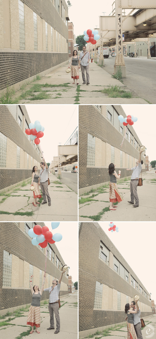 urban balloon engagement couple