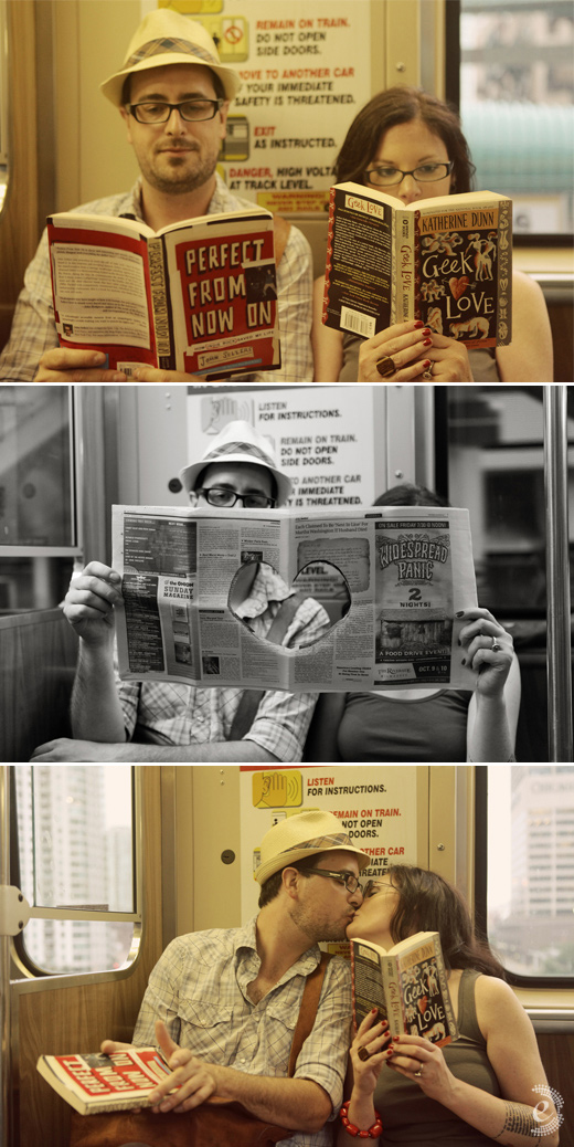 urban subway book newspaper props engagement couple