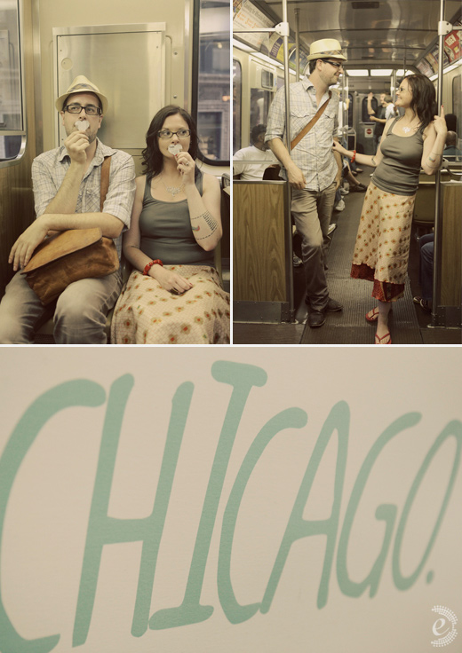 urban subway newspaper props engagement couple