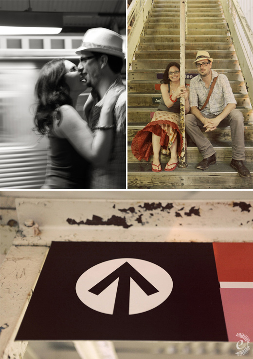 urban subway train engagement couple