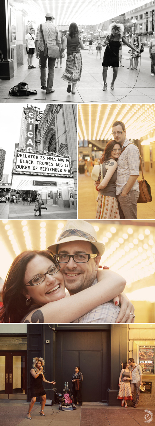 urban chicago theater engagement couple