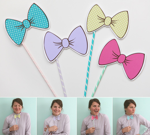 bow ties on a stick photo prop