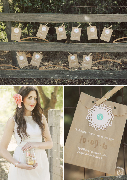 brown bag button calligraphy wedding favors