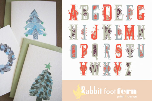 rabbit foot fern design holiday cards modern