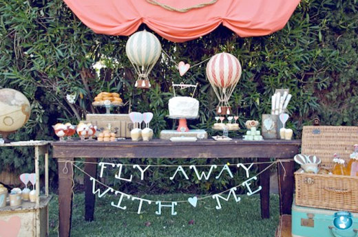 hot balloon dessert table vintage