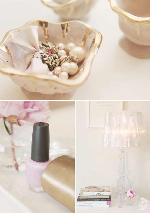 gold peach details clear lamp