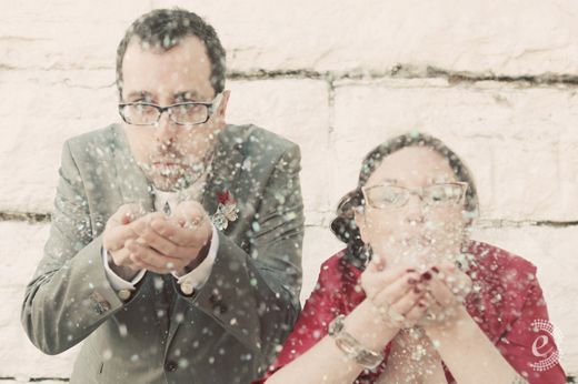 snow confetti wedding