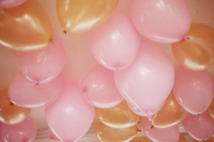 pink gold balloons